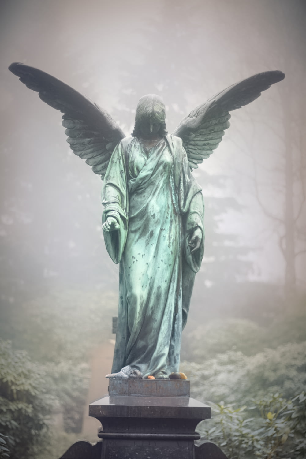 green female angel statue