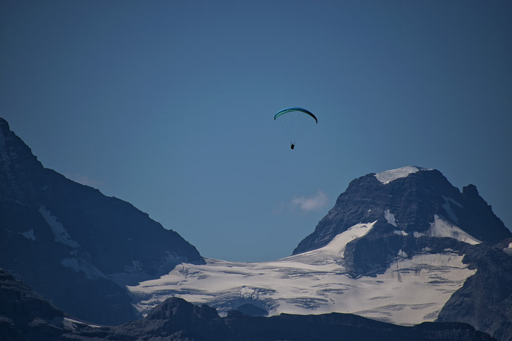 person riding paragliding