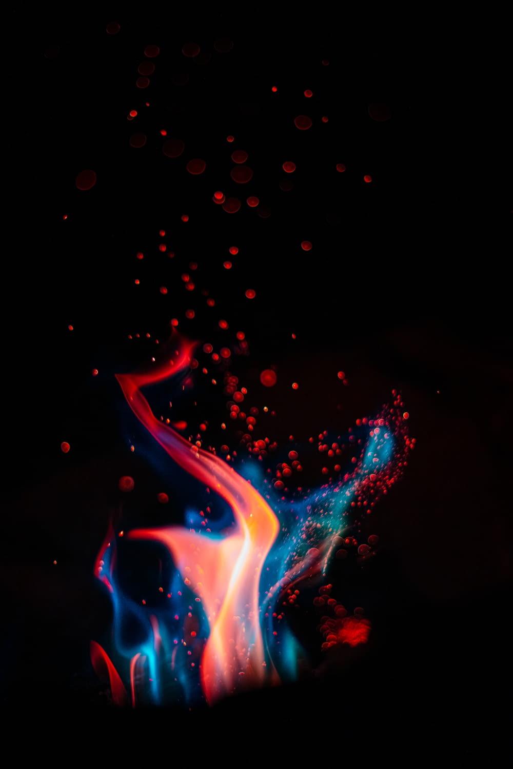 red and blue fire digital wallpaper