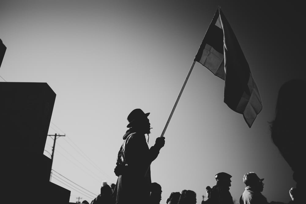 silhouette of people holding flags
