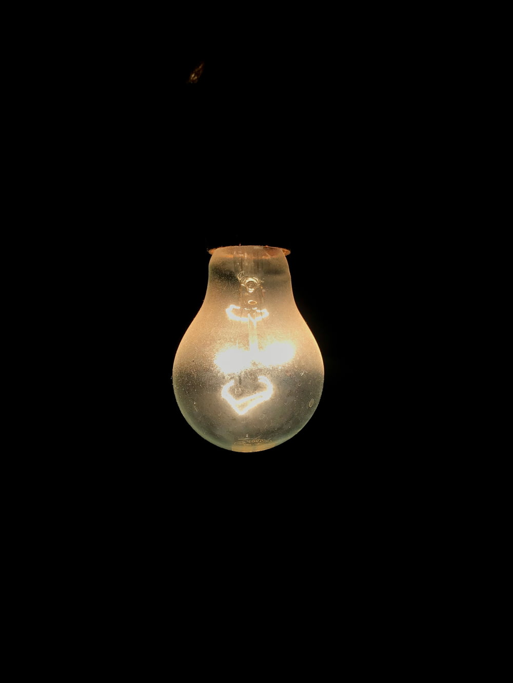 light bulb with black background