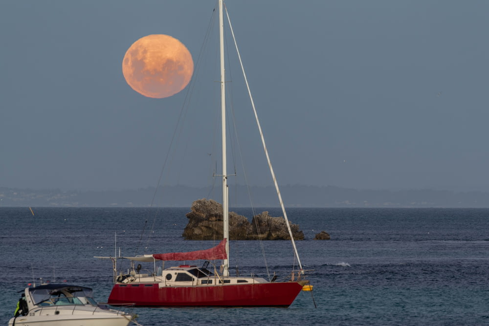 red and white sail boat on sea during night time