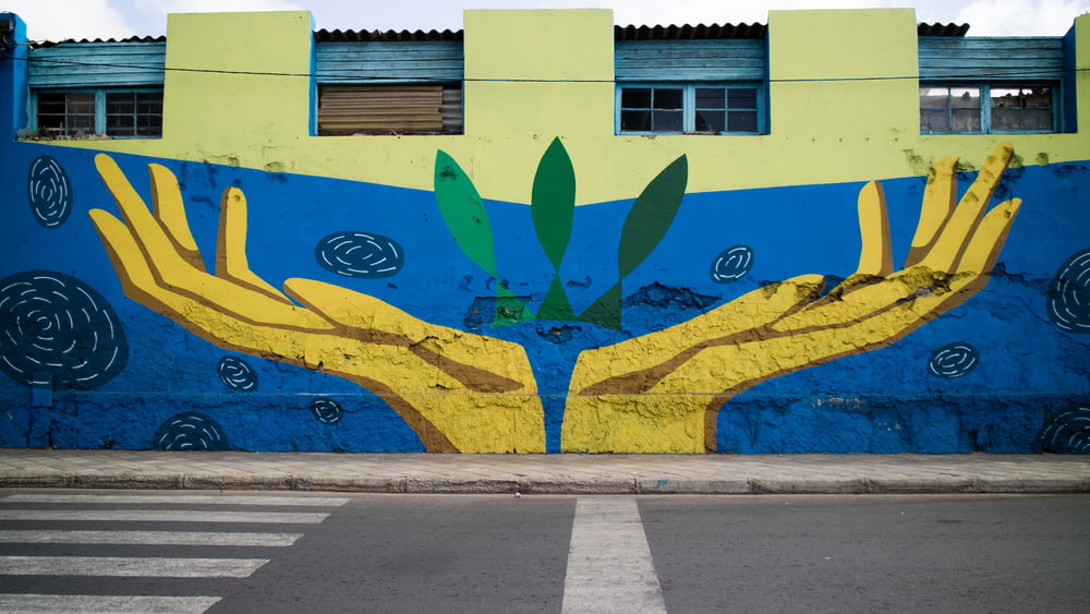 blue and yellow painted wall