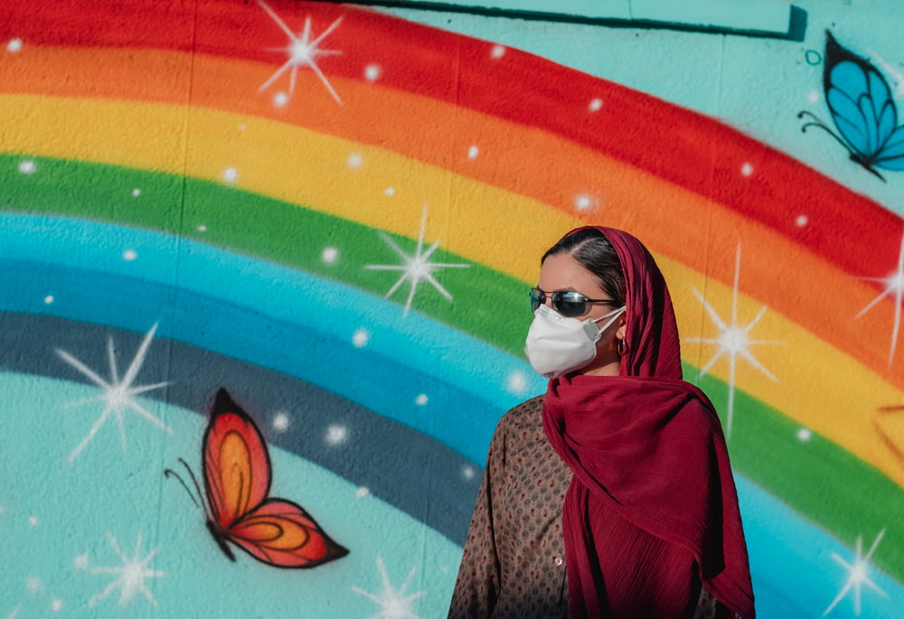 woman in brown hijab and black sunglasses