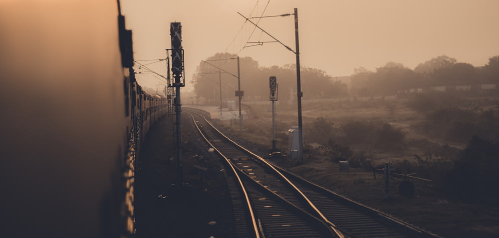 train rail road with electric posts