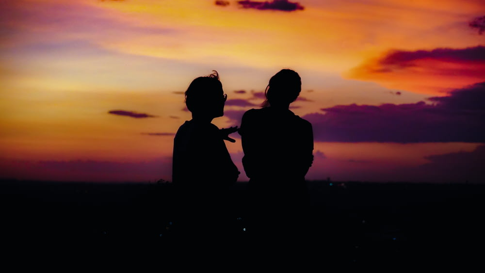 silhouette of 2 person standing during sunset