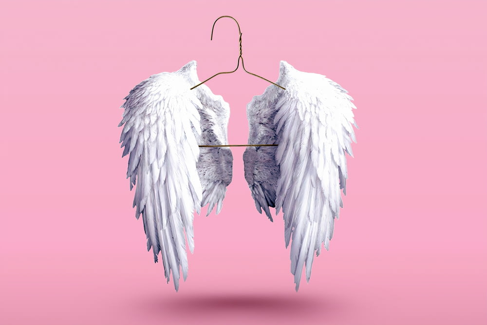 2 white wings with pink background