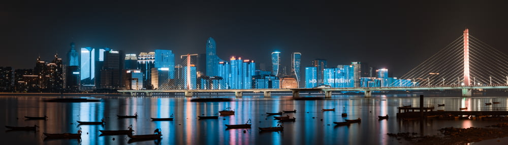 city skyline across body of water during night time