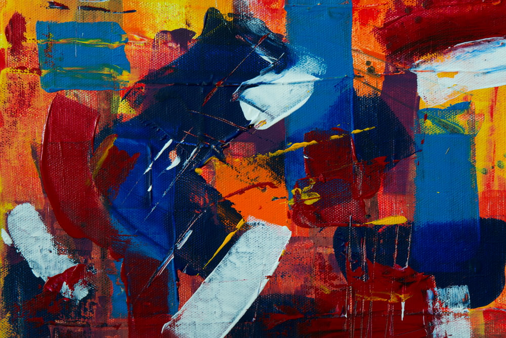red white and blue abstract painting