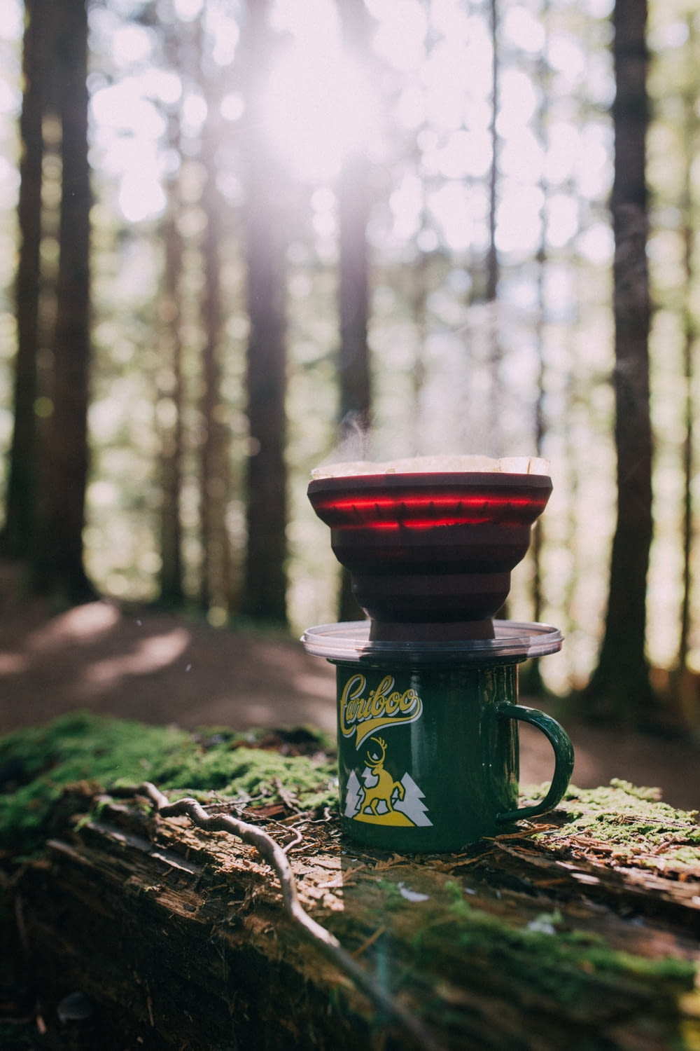 red and green ceramic mug on brown wooden log