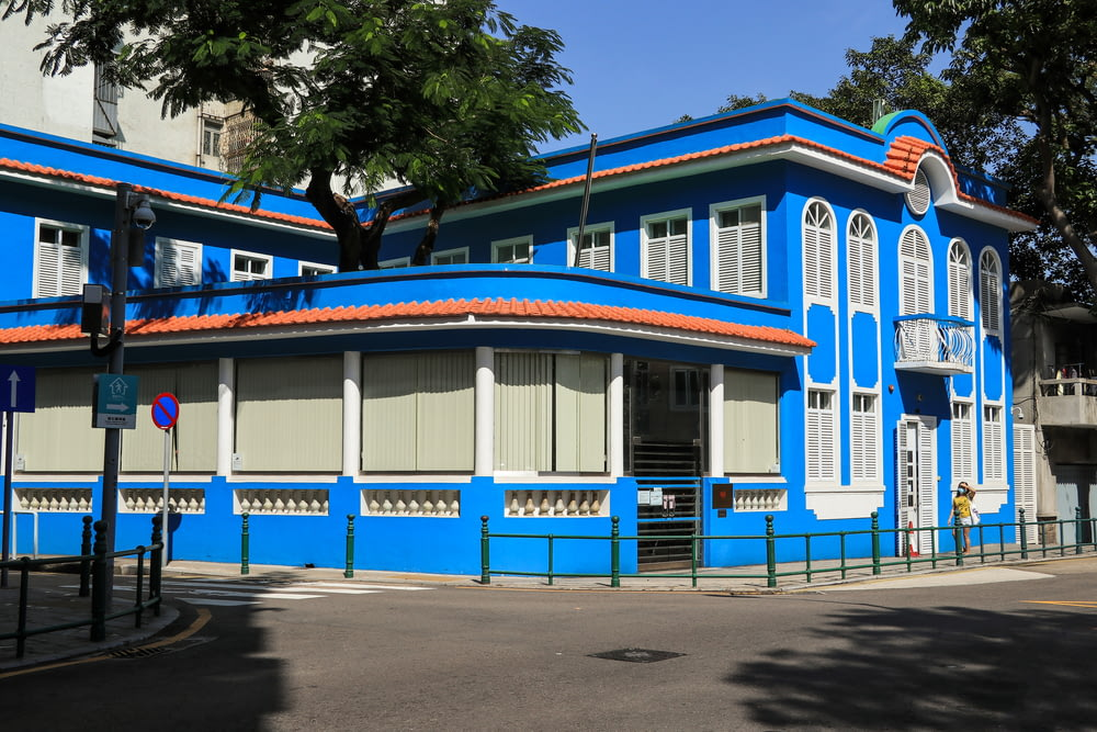 white blue and red concrete building