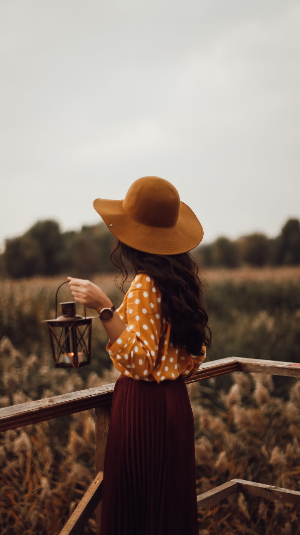 woman in brown sun hat and black and white polka dot dress holding brown wooden fence
