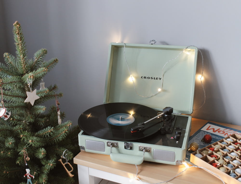 silver and black vinyl record player