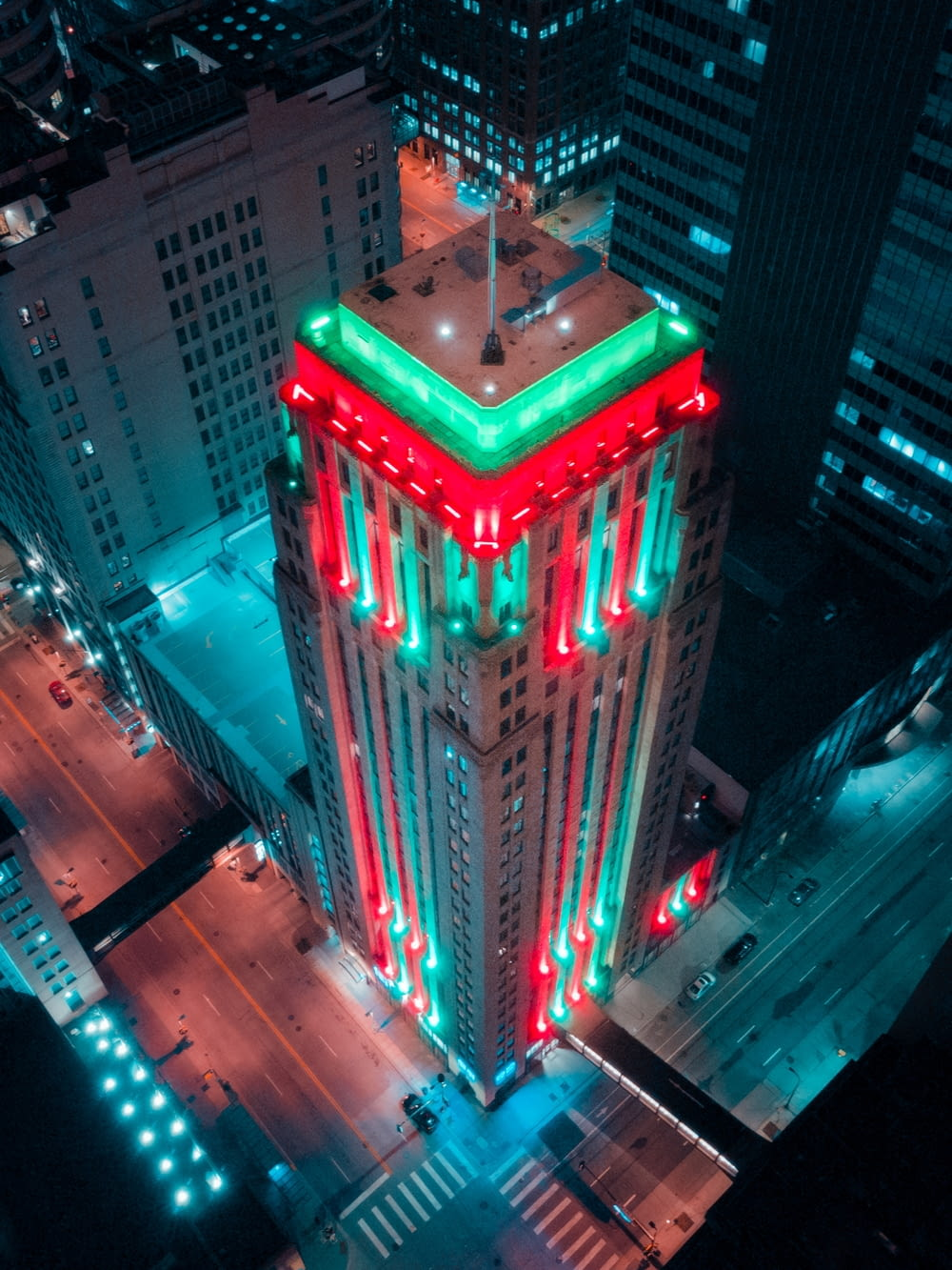 red and green lighted building during night time