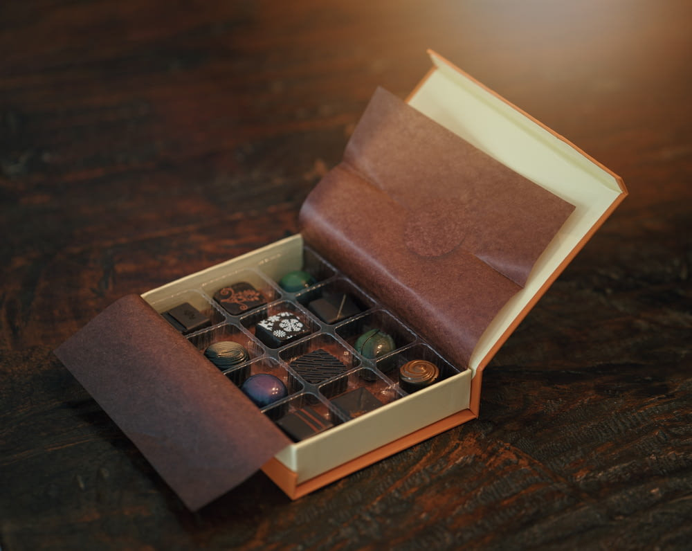 chocolate bars in brown box