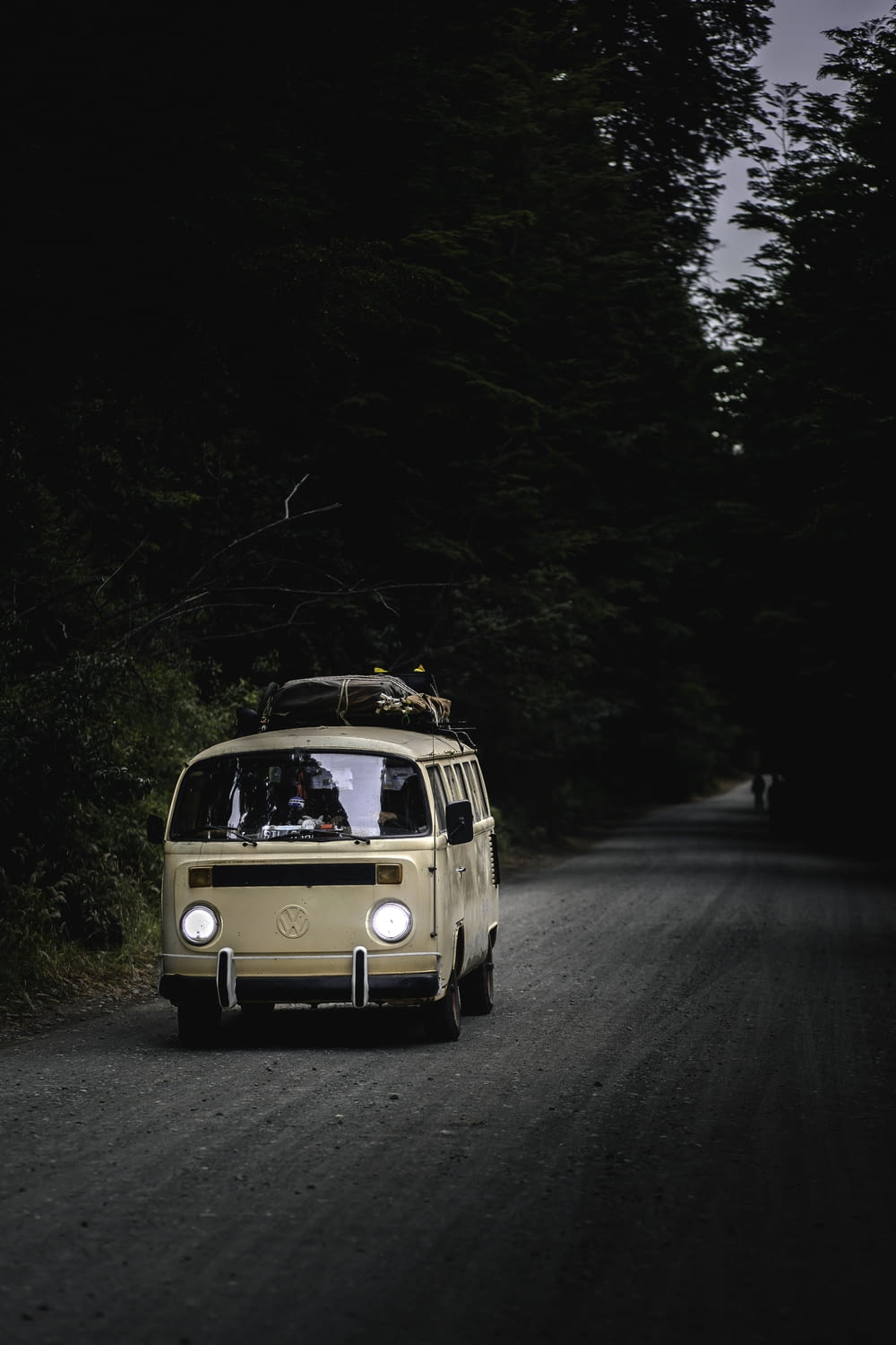 white volkswagen t-2 on road surrounded by trees