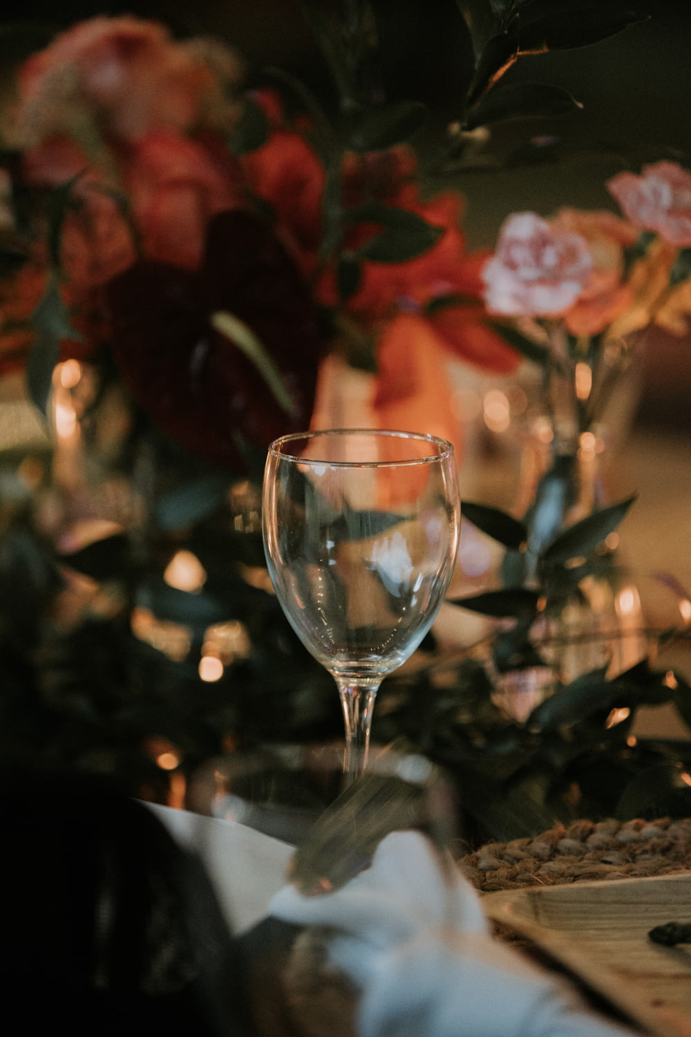 clear wine glass on table