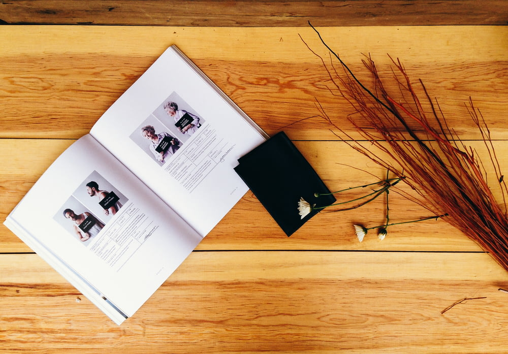 high-angle photo of opened book near red decorative twigs on table
