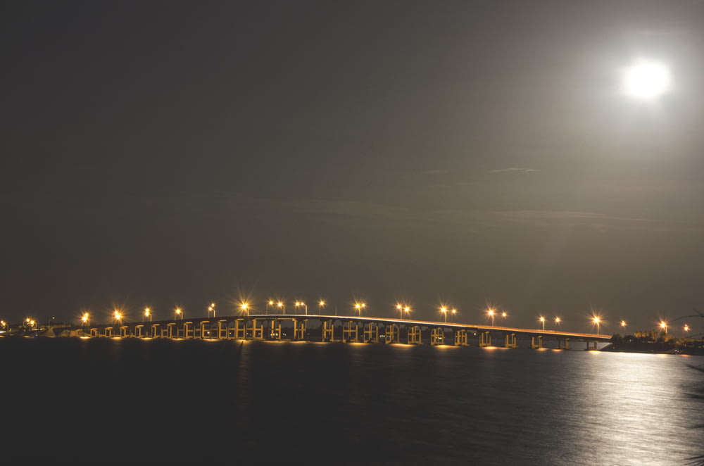 brown bridge with lights at dayttime